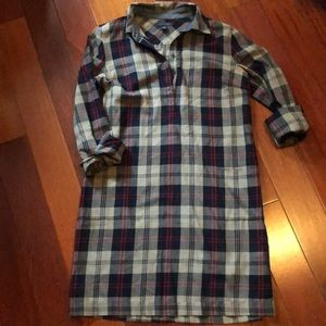 Plaid popover shirt dress
